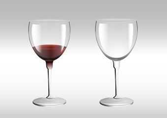 Weinglas Weingläser leer und voll halbvoll