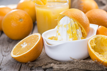 Portion of fresh made Orange Juice