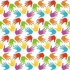 бесшовный узор с разоцветными ладонями