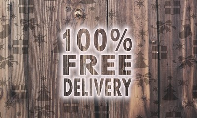 wooden 100 percent free delivery symbol with presents