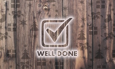wooden well done symbol with presents