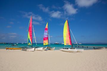 catamaran sailboats in Illetes Formentera beach