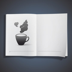 Icon of cup of coffee printed on book.