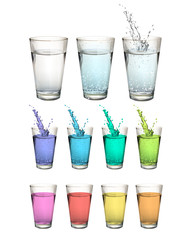 Set of water glasses over white background.