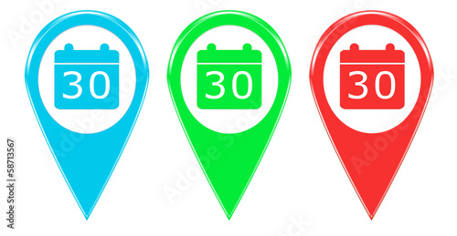 Simbolo De Calendario.Iconos O Marcadores En Mapas Con Simbolo De Calendario