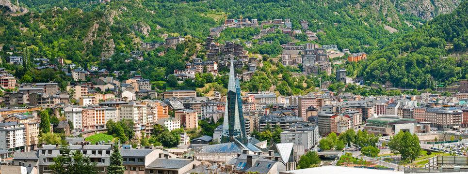 Aerial view of the Andorra la Vella, Andorra