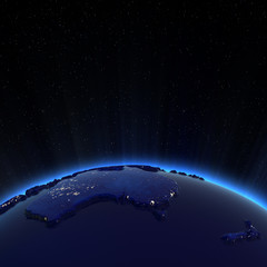 Photo sur Aluminium Dauphins Australia and New Zeland city lights at night