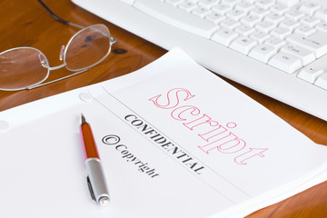 Script Screenplay on Desk with Pen
