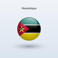 Mozambique round flag. Vector illustration.