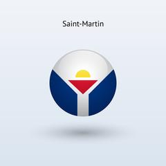 Saint-Martin round flag. Vector illustration.