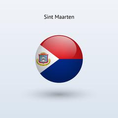 Sint Maarten round flag. Vector illustration.