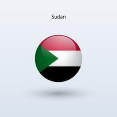 Sudan round flag. Vector illustration.