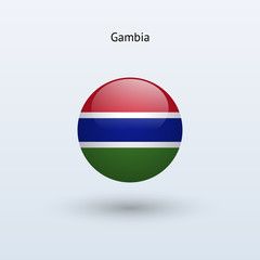 Gambia round flag. Vector illustration.
