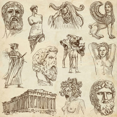 Traveling: GREECE, part 1 - Collection of an hand drawings.