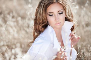 Beautiful sexy tan woman vogue style