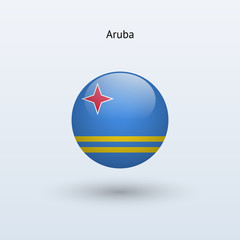 Aruba round flag. Vector illustration.