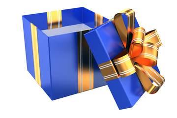 Blue gift with golden ribbons