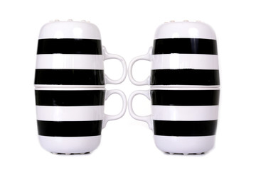 black and white cup isolated