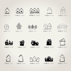 House Icons Set - Isolated On Gray Background