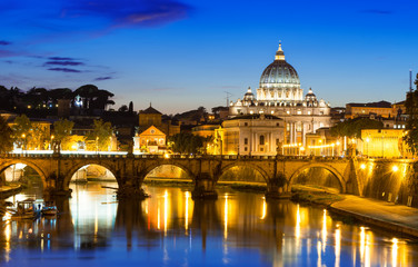 Poster de jardin Rome Night view of Basilica St Peter and river Tiber in Rome in Italy