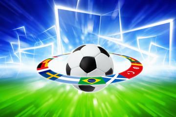 Soccer ball, national team flags