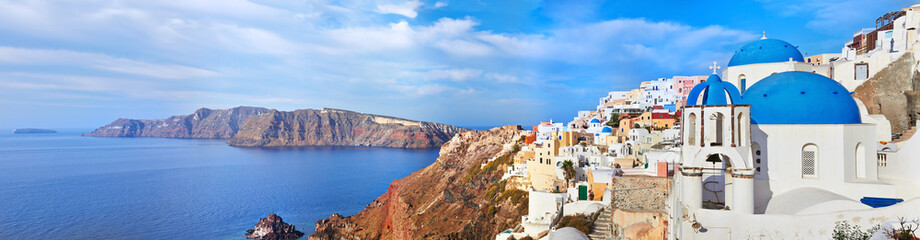 Panoramic view of Oia village on Santorini island, Greece.
