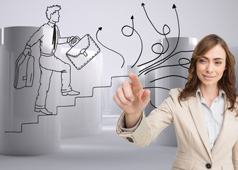 Composite image of portrait of businesswoman touching invisible