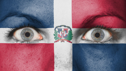 Close up of eyes with flag