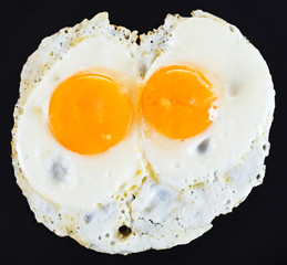 two fried eggs on black
