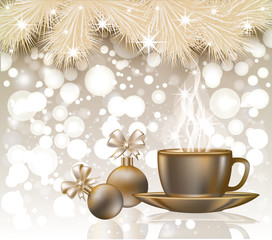 Merry Christmas greeting card with coffee cup