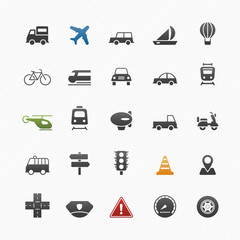 transport and traffic vector symbol icon set