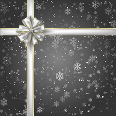 Gift of Night Snowflakes with a Silver Ribbon and Bow