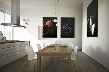 Moderne offene Küche weiss