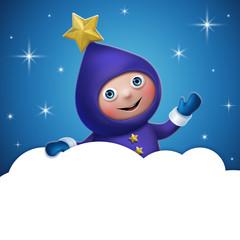 cloud banner template, star elf cartoon character