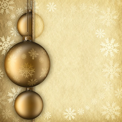 Christmas background - baubles, snowflakes and blank space for t