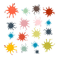 Vector Stains, Splashes, Blots in Retro Colors