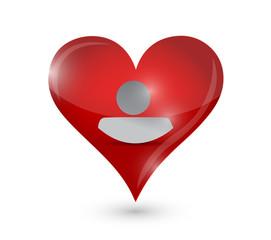 heart and avatar icon illustration design