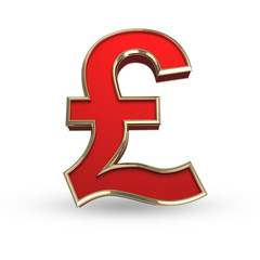Red pound symbol on white isolated with clipping path.