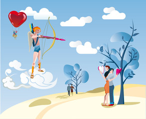 Cupido and a Lover Couple