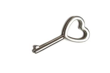 Heart shaped key isolated