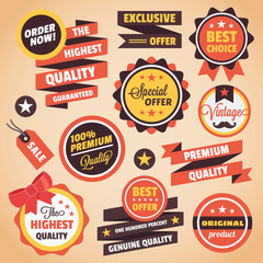 Set of Vector Vintage Badges Stickers Banners and Labels