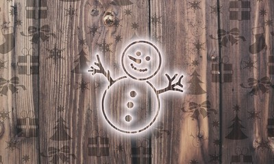 wooden snowman label with presents