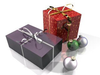 gift packs and Christmas baubles