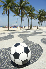Football Soccer Ball on Copacabana Boardwalk Rio Brazil