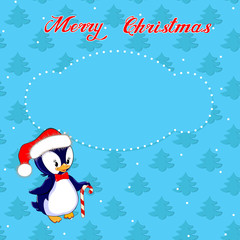 Christmas card with little penguin