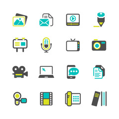 Multimedia and business Icons colored series
