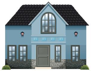 A blue single detached house