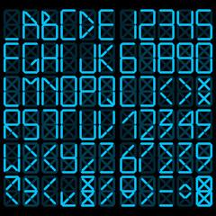 Digital alphabet - blue on a black background