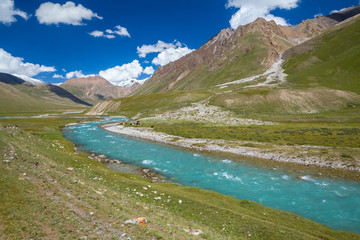 Fototapete - Motton blue ruver in mountains of Tien Shan