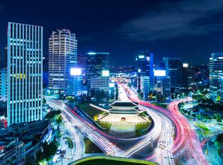 Aluminium Prints Seoul Seoul skyline at night